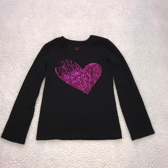 9bc0c618cbd6 Faded Glory Shirts & Tops | Girls Black And Pink Heart Top Xs | Poshmark